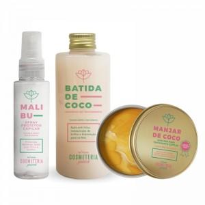 Kit- Batida de Coco- Shampoo de Tratamento e máscara capilar Manjar de Coco e Finalizador Malibu